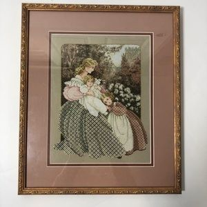VTG Needlepoint Victorian Mother Child Muted Color